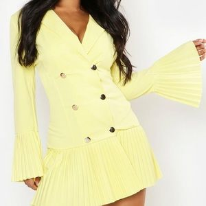 Pleated Frill Hem Blazer Dress